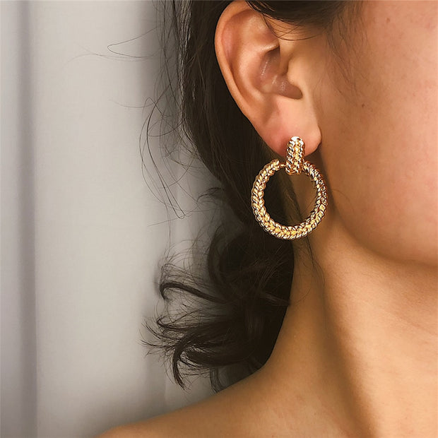 Geometric Spiral Dangle Earrings
