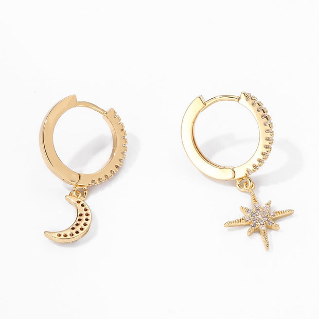 Star & Moon Hoop Earrings