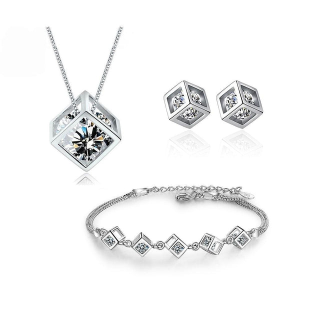 Zircon Cube Jewelry Set