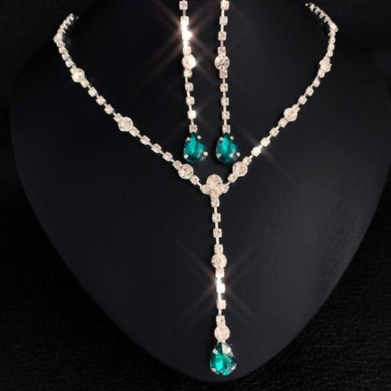 Water Drop Rhinestone Jewelry Set