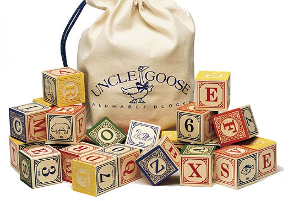 Bloque de madera ABC de uncle goose con bolsa de guardado.