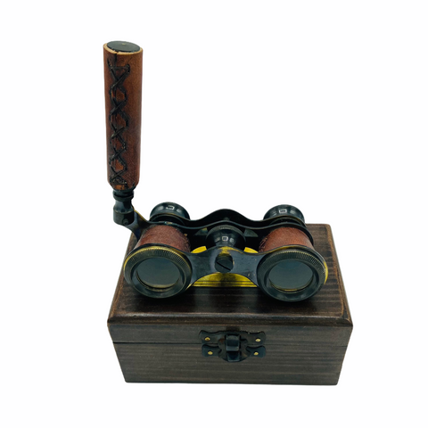 Red Leather Black Opera Glasses in a Wood Box