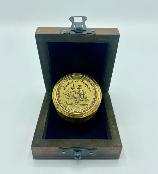 "Brass  2.2"" Ship Pocket Sundial Compass in a wood box"