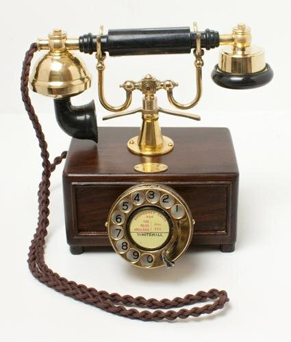 Brass Square Box 1930's Style Cradle Telephone
