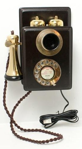 Brass Wood Wall Telephone