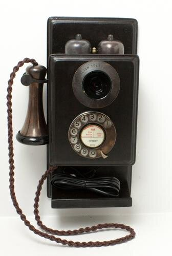 Bronze Wood Wall Telephone With a Shelf