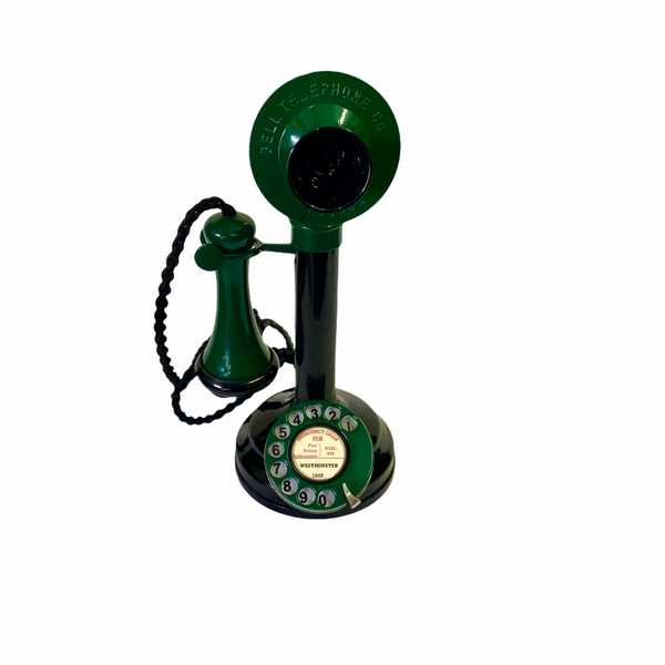 Green & Black 1920's Style Candlestick Telephone.