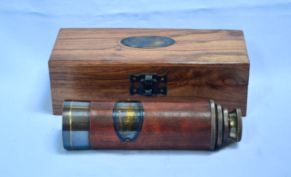 "16"" Red Leather Ottway 4 Draw Telescope in a wood box"