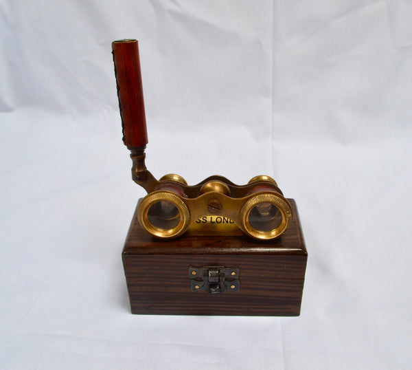 Red Leather Bronze Opera Glasses in a Wood Box