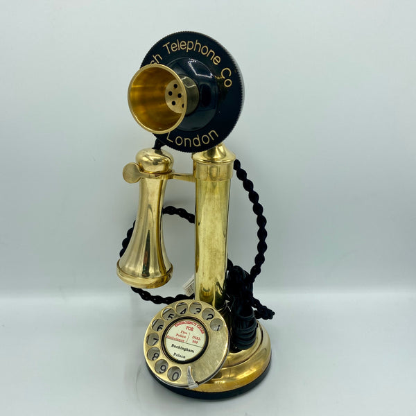 Brass 1920's  Style  Candlestick Telephone with a Black Front
