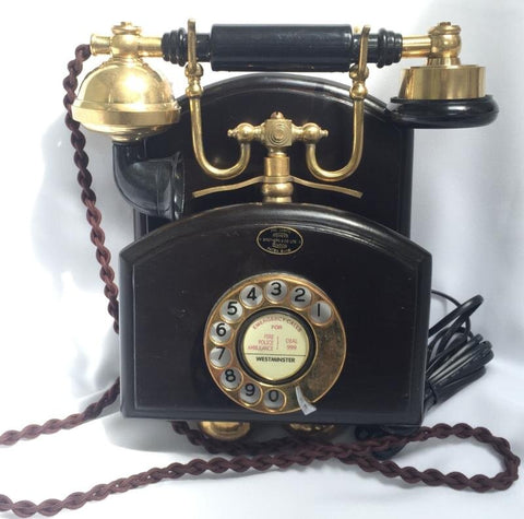 Brass Wood Wall Cradle Telephone