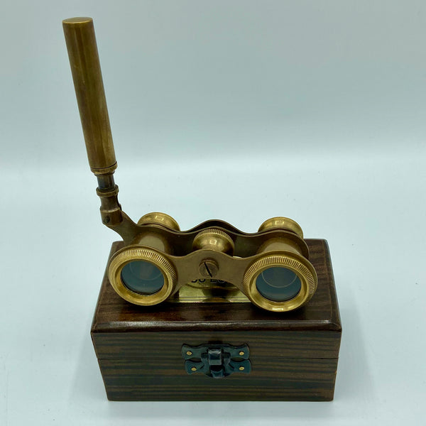 Bronze Opera Glasses in a Wood Box