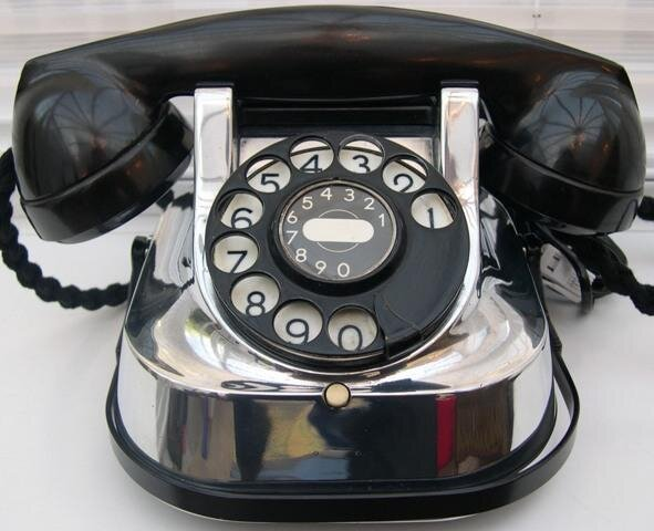 Chrome Antique 1950's Belgian Bell Telephone with a Caring Handle