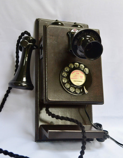 Black Wood 1920/30s Wall Telephone with a Shelf