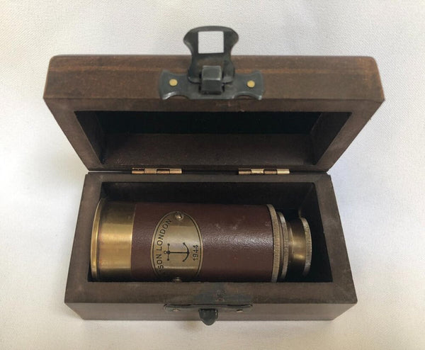 Bronze and Leather Two-Draw Tubby Telescope