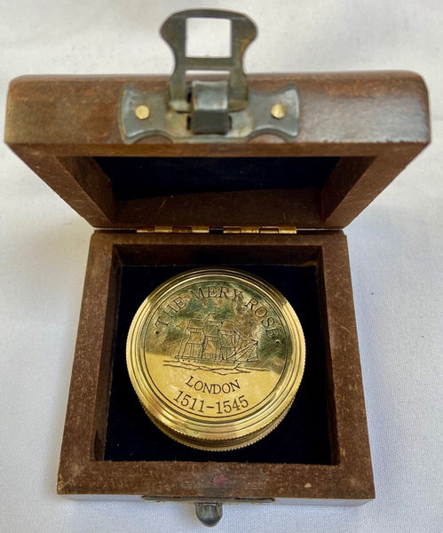Brass M R Pocket Sundial Compass in a wood box