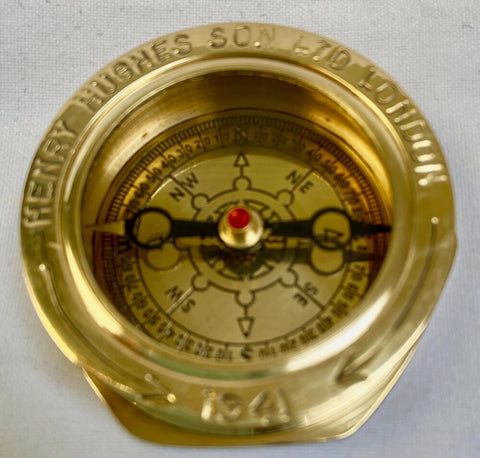 "2"" Large Brass Navy Compass in a wood box."
