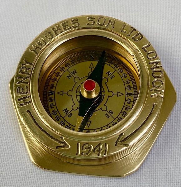 "Brass 1.5"" Small Navy Style  Compass in a wood box"