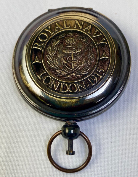 "Black Royal Navy Style 2"" Pocket Compass in a Wood Box"