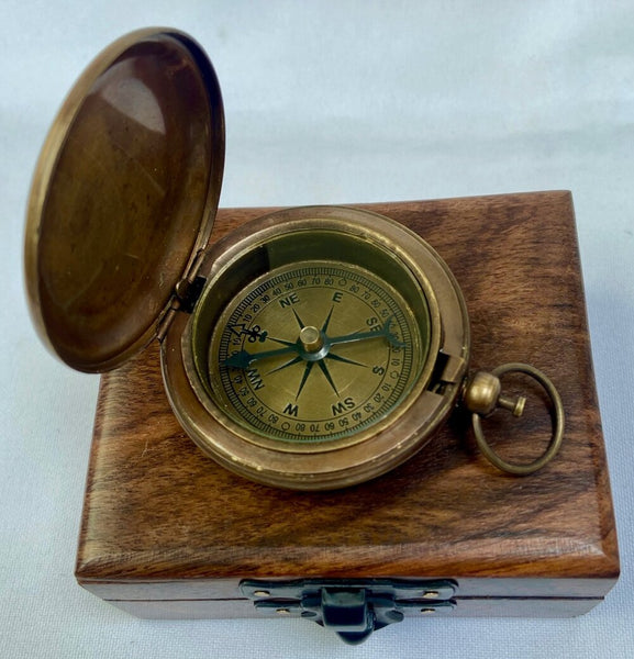 Bronze Pocket Compass with Anchor Design