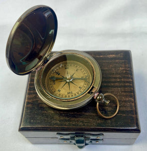 "Anchor 2"" Pocket Compass in a Wood Box."