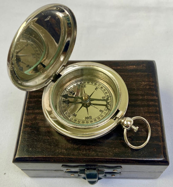 Chrome Pocket Compass with Anchor Design