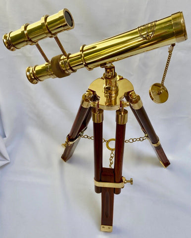 10-inch Brass Double Telescope on a 15-inch Wood & Brass Tripod