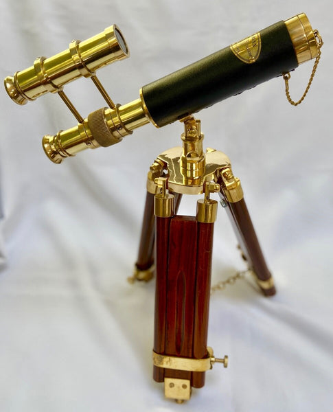 10-inch Brass Leather Double Telescope on a 15-inch Wood & Brass Tripod