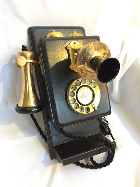 Brass Wood Wall Telephone With a Shelf