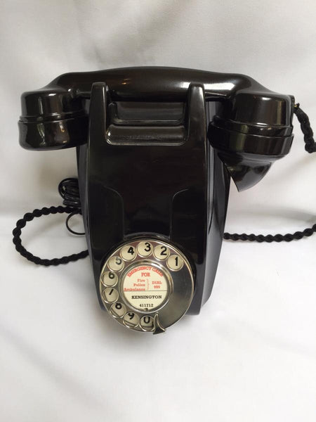 GPO 1950's British Bakelite Black Wall Telephone