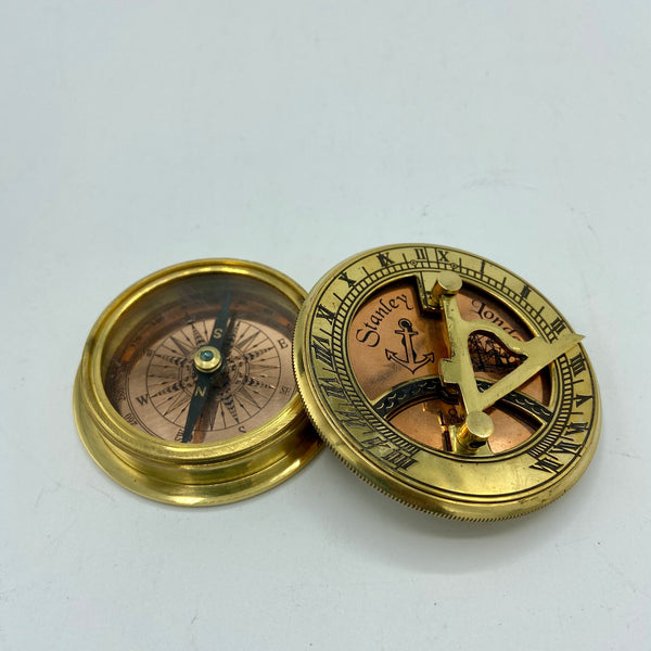 "Brass 3"" Sunny Day Sundial Compass in a box"