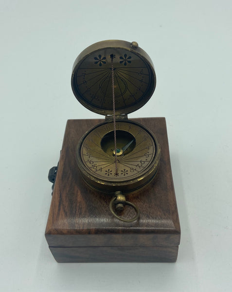 "Brass 2"" String Compass Sundial in a wood box"