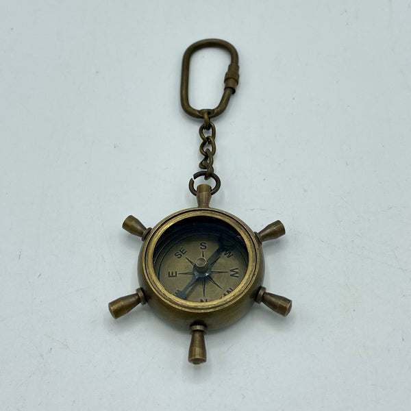 "1.25"" Ship's Wheel Key Ring Compass ( Brass, Bronze, Chrome & Black )"