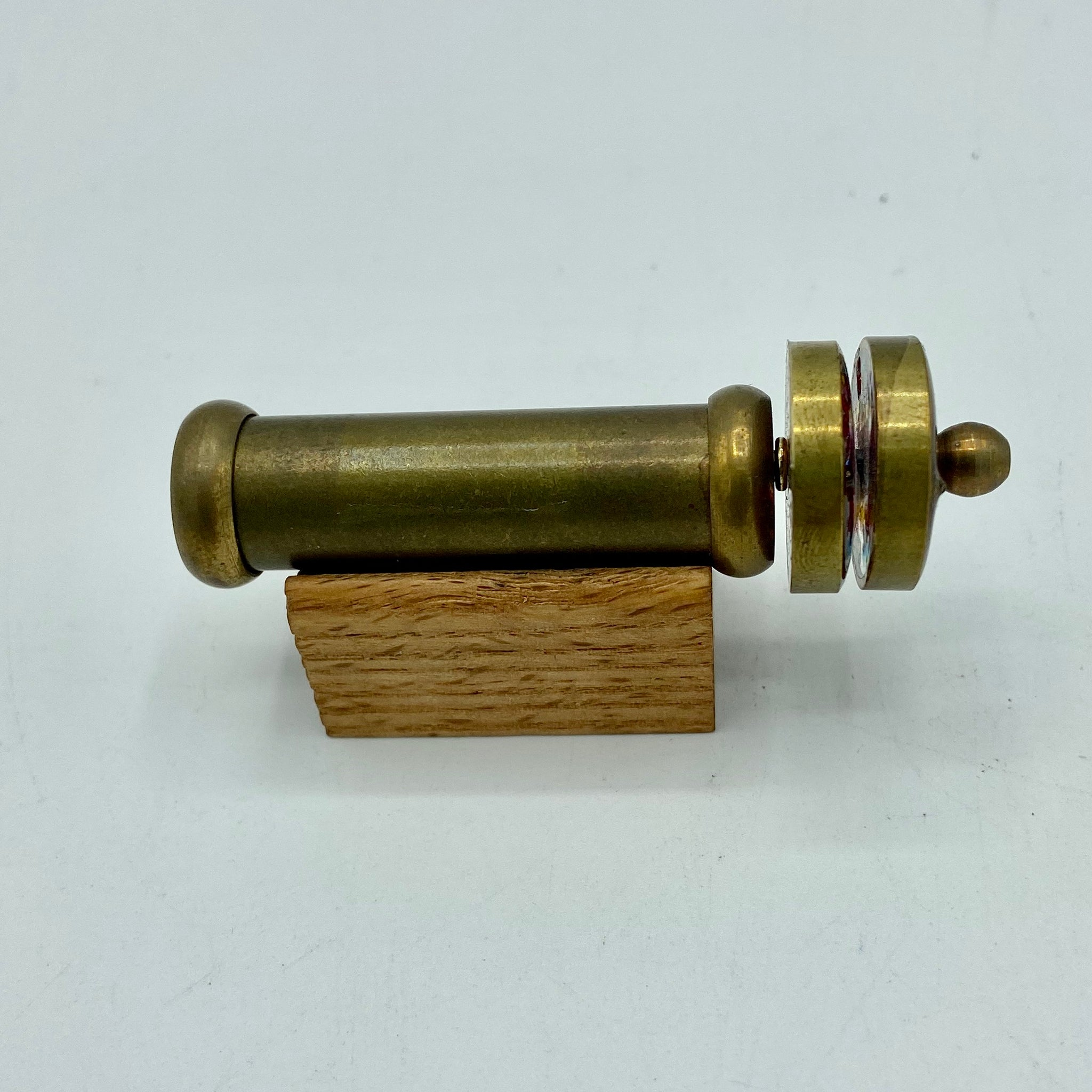Brass Mini Wheel Kaleidoscope on a wooden stand ( Light or Dark )