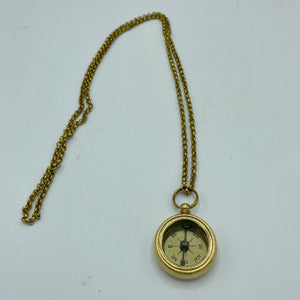 "1.25"" Brass Compass and Ship Wheel Compass on a Brass Chain"