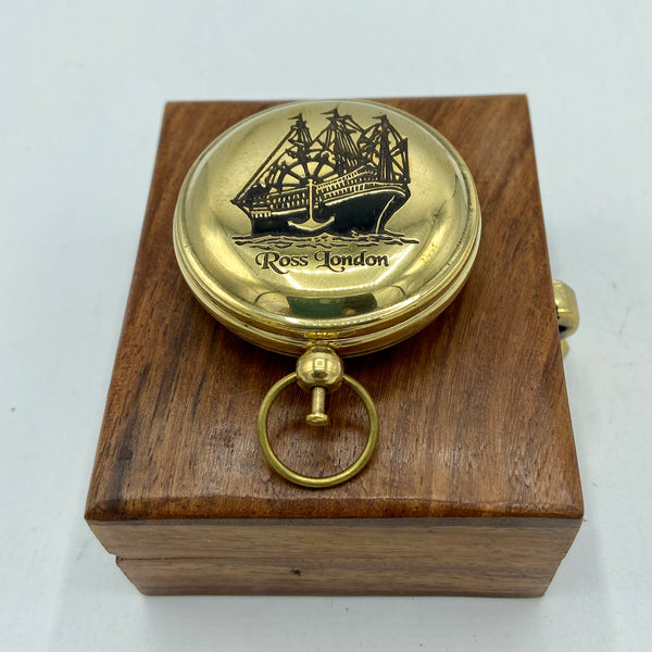 "Brass 2"" Ship Pocket Compass in a wood box"
