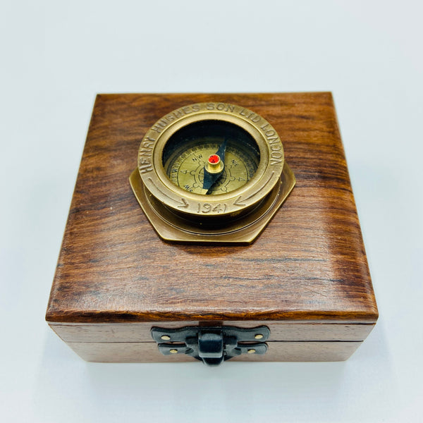Bronze 1.5' Small Navy Style Compass in a wood box