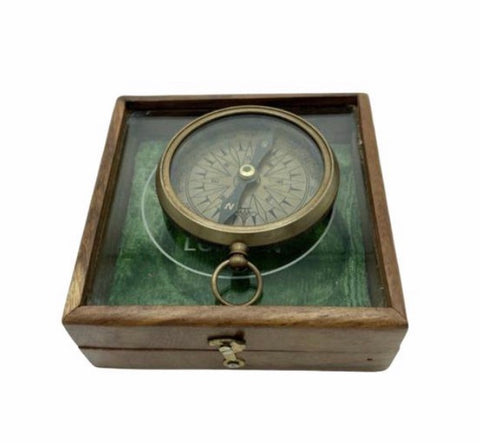 "2.5 "" T. Harris & Sons London Brass Compass in a Special Glas Top Box"