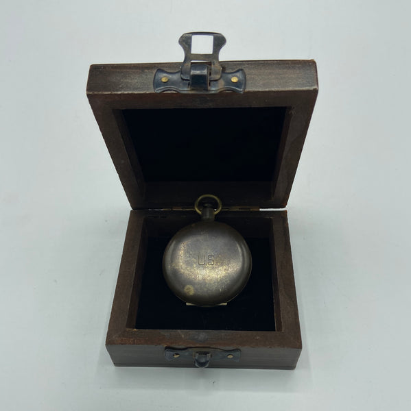 Black US Army S & W Pocket Compass in a wooden box