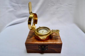 Brass Army Style Prismatic Marching Compass in a wood box