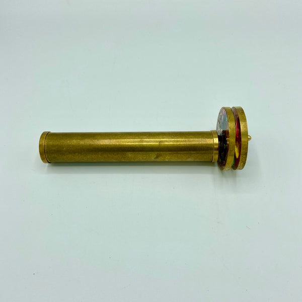 "Long 6.3"" Brass Double Wheel Kaleidoscope in a Wood Box"