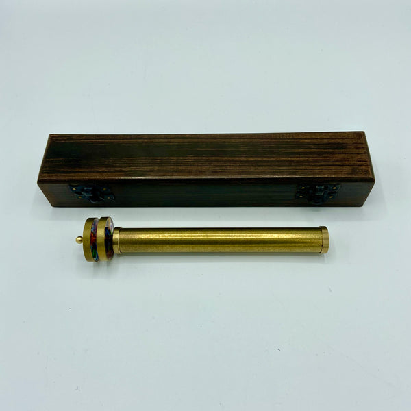 "Medium Long 6.3"" Brass Wheel Kaleidoscope in a wood box"