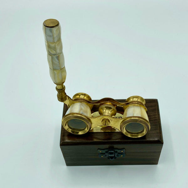 Mother of Pearl Opera Glasses in a Wood Box