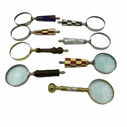 "7.5"" Brass or Chrome Assorted Handle Magnifers ( 8 Types )"