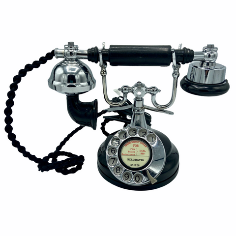 Black & Chrome 1930's Style Cradle Telephone
