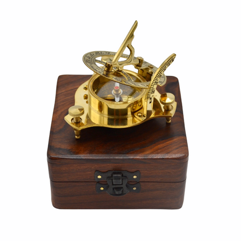 "Brass 2.5"" Folding Sundial Compass in a Wood Box"