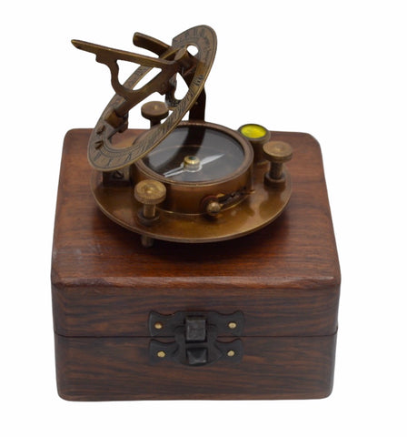 "Bronze 3""  Round Folding Sundial Compass in a wood box"