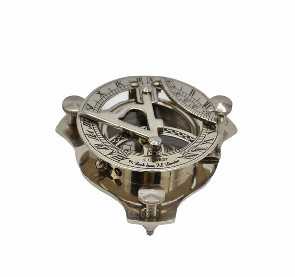 "Chrome 2.5"" Folding Sundial Compass in a wood box"