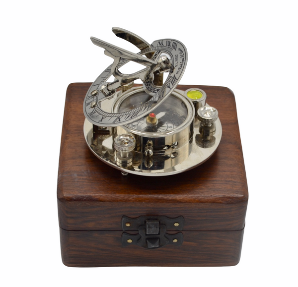 "Chrome 3"" Round Folding Sundial Compass in a wood box"