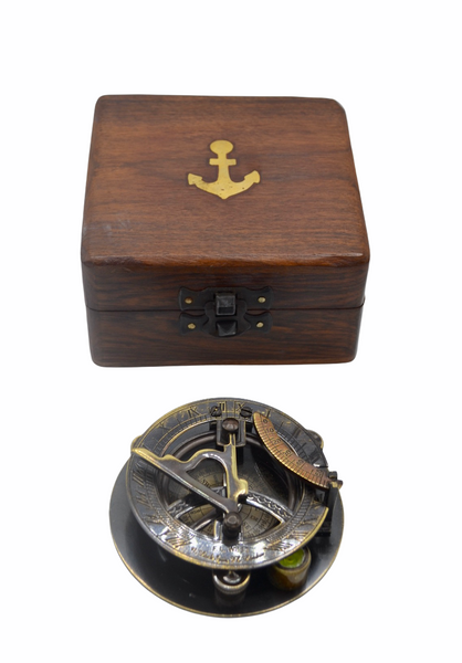 "Black 3"" Round Folding Sundial Compass in a box"